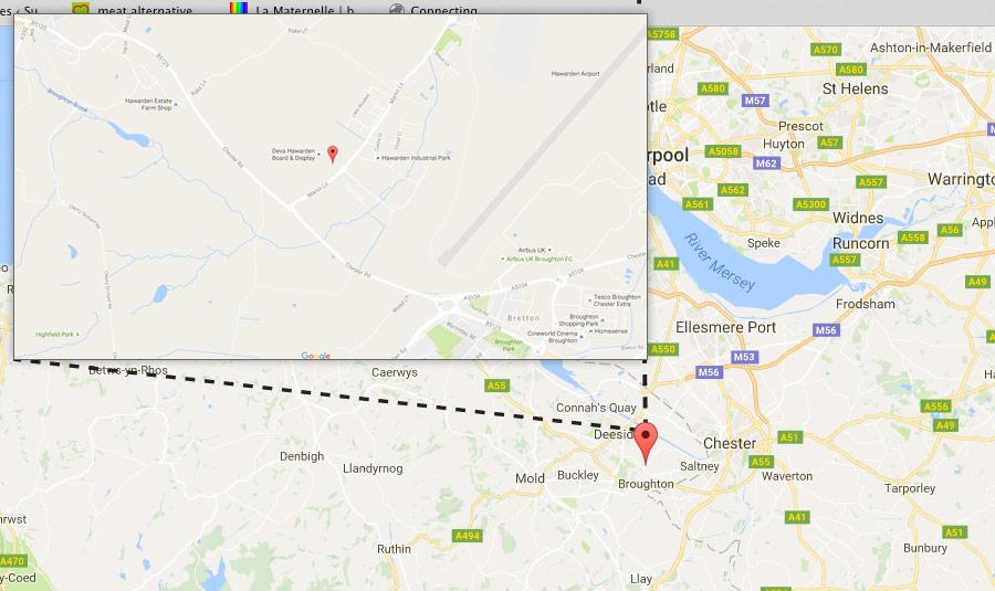 Boardlink Hawarden site location map